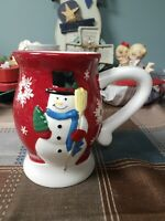 Holiday Time Collectible Red Mug Cup Snowman Snowflakes Earthenware 22.3 Oz