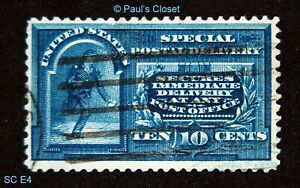 US SPECIAL DELIVERY 10¢ 1894 LINE UNDER TEN CENTS UNG SC E4 HAND STAMPED VF #3