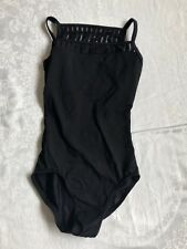 Mirella Womens Size Petite Leotard Strappy Back Streaks Black Brand New No Tags