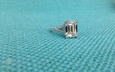 3.40Ct White Emerald Cut Diamond Engagement Wedding Ring Solid 14K White Gold