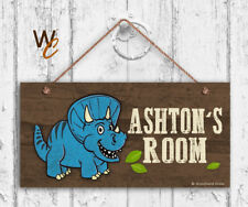 Blue Dinosaur Sign, Personalized Sign, Kid's Name, Kids Door Sign, 5x10 Sign