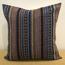 "18"" (45cm) Mexican Fabric BLUE/BLACK/GOLD/ORANGE Cushion Cover. Made Australia"