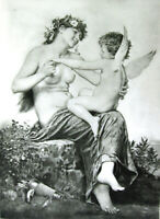 PRETTY NAKED NUDE WOMAN GIRL BREASTS NYMPH & CUPID FLIRT, 1893 Erotica Art Print