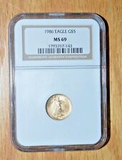 1986 $5 1/10th American Gold Eagle - NGC ms69 - Serial Number 1793767-143 --