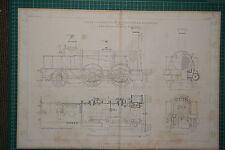1860 GRANDE LOCOMOTIVA stampa ~ buon MOTORE Allan Scottish Railway elevazione DEL PIANO