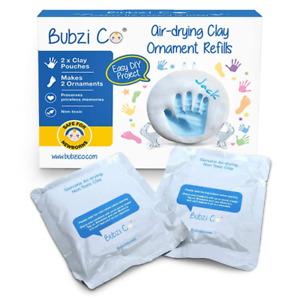 Bubzi Co Baby Handprint & Footprint 2X Air-Drying Clay Ornament Refills for & to