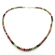 Necklace natural tourmaline gemstone beaded 925 solid sterling silver 17.5 gram