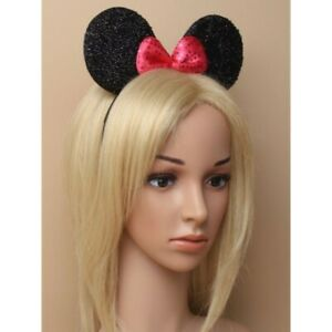 Sparkly Mouse Ears with Bow on an Aliceband