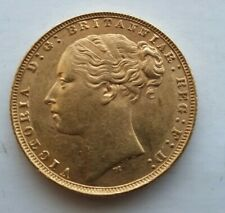 More details for 1877 gold sovereign. queen victoria gold sovereign. 1877 sovereign. bun head