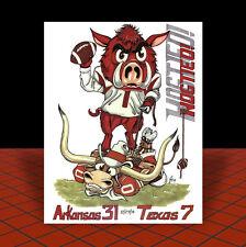 New ARKANSAS RAZORBACKS 2014 Texas Bowl POSTER ART, artist signed, hogs football