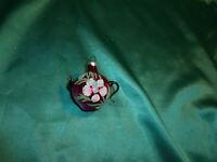 ~ antike Christbaumkugel Glas Kanne Teekanne Kännchen pink rosa  Blume Lauscha ~