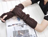 Women Ladies Winter Solid Fingreless Knit Mitten Long Gloves Winter Arm Warmers
