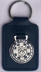 Jaguar 'E' type Keyring Key Ring black & white - badge mounted on a leather fob