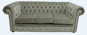 Chesterfield 3 Seater Velluto Sage Green Fabric Sofa Settee