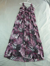 Basque 12 Purple Abstract Maxi Dress Cross Over Bust
