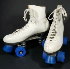Riedell Super X 5L/5R White leather roller skates Invader wheels ladies size 7 B
