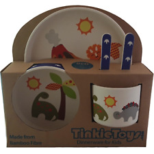 NEW DINOSAUR Kids Bamboo Dinnerware Set by Tinkie Toys Baby Plate Cutlery!