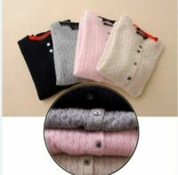 Round Neck Cashmere Sweater Women Wool Cardigan Autumn Winter Long Sleeve Knit