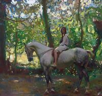 "Sir Alfred Munnings, Girl on Horseback, Horse, , antique deco,  12""x12"" ART"