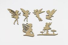 6 x FAIRY Simple laser cutted -  MDF  SHAPE  Wood Craft Arts Decoration As