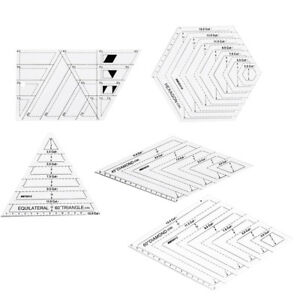 5Pc Tailor Creative Grids Ruler Patchwork Triangle Diamond Hexagon Trapezoid