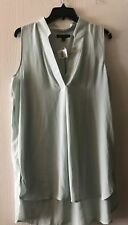 NWT Banana Republic Notch-Collar Sleeveless Blouse In Mint Green Size L