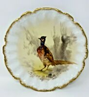 ANTIQUE LIMOGES J & B PHEASANT PLATE GOLD SCALLOPED EDGE ARTIST SIGN LUC 9 1/2""