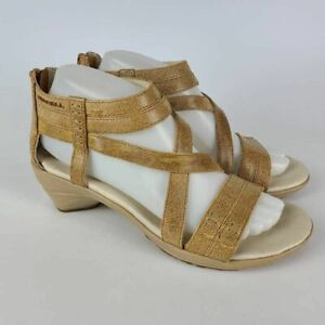 Merrell Womens Veranda Eve Strap Sandals Brown Beige Criss Cross Leather 8 New