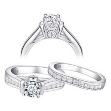 Round Aaa Cz Sterling Silver Size 9 Wedding Engagement Ring Set For Women 1.3ct