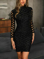 Women Bodycon Glitter Knit Dress Slim Fit Tight Skirt Cocktail Party Club Black
