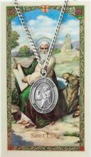 Pewter Saint St Luke Medal with Laminated Holy Card, 1 1/16 Inch