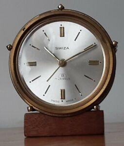 Vintage Swiza 8 Day Brass Alarm Clock Drum Shape Working