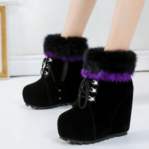 Womens Winter Fur Trim Lace Up Ankle Boots Casual Platform Wedge High Heel Shoes