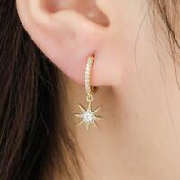 Damen Ohrringe Creole Creolen 925er Silber 925 Silber Gold Mond Stern