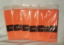 """LOT of 5 Amscan Orange Plastic Table Cover 84"""" Round Birthday Halloween Party"""