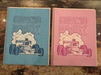 2 1970's TOUCHABLES textured spiral bound theme NOTEBOOK Racecar Grand prix