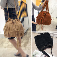 Women Ladies Fringe Tassel Bucket Shoulder Crossbody Bag Messenger Handbag