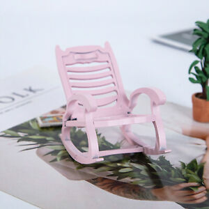 1:12 Scale Rocking Chair for Children Kids Wooden Dollhouse Miniature Toys