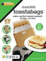 Pack of 2 Toaster Bag Toast Toastie Pocket Sandwich Reusable up to 50 times