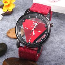 Luxury Men's Stainless Steel Hollow Triangle Dial Denim Strap Quartz Wrist Watch