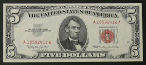 1963 Red Seal $5 United States Note, Perfect Uncirculated Beauty