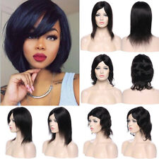 Malaysian Human Hair Full Wig Short Bob Style With Bangs Black Brown Side Part P