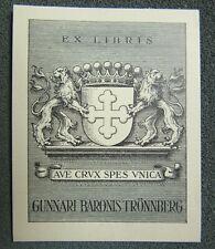 EX LIBRIS Bookplate J BRITZE Danemark or Sweden Trönnberg heraldic