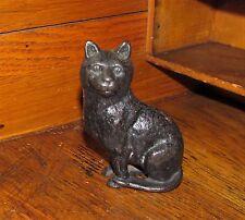 Antique Vtg Cast Iron Arcade Black Cat Kitten Soft Hair Still Penny Metal Bank
