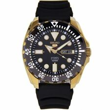 Seiko 5 Sports SRP608 J1 Yellow Gold Black Dial Men's Automatic Analog Watch