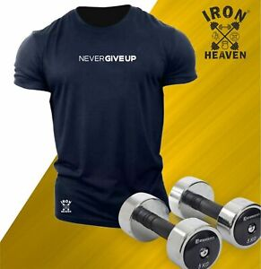 Never Give Up T Shirt Gym Clothing Bodybuilding Training Workout Boxing Men Top