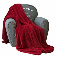 Qbedding Extra-thick Anti-Static Microplush Fleece Blanket Luxury Burgundy Twin