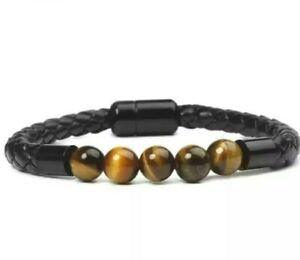 Bracelet Leather Bangle Natural Gemstone Tiger Eye Beaded 8mm Beads