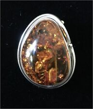 Sterling and Baltic Amber Brooch, Pin, Pendant