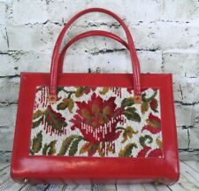 VTG Red Leather Floral Needlepoint Tapestry Flower Handbag Purse Lined Snap Clos